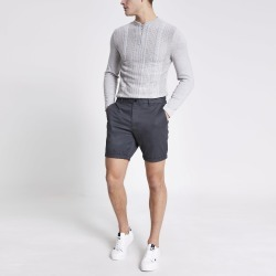 Mens River Island Dark Grey Dylan slim fit shorts