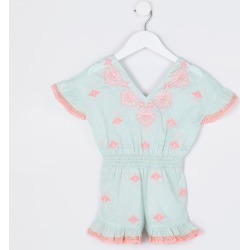 River Island Mini girls Green embroidered beach playsuit found on Bargain Bro UK from River Island - UK