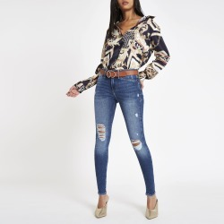 Womens Mid Blue Molly ripped jeggings found on MODAPINS from River Island - UK for USD $57.18