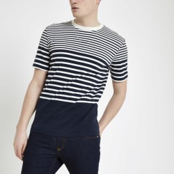 Mens River Island Selected Homme Navy stripe T-shirt