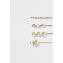 River Island Womens Gold colour pearl hair slides 4 pack found on Bargain Bro UK from River Island - UK