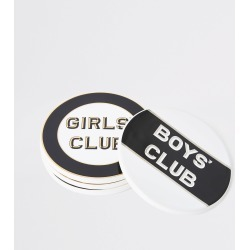 River Island Black 'Boys/girls club' coaster multipack found on Bargain Bro UK from River Island - UK
