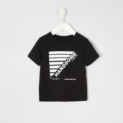 River Island Mini boys Black 'Handsome' T-shirt found on Bargain Bro UK from River Island - UK