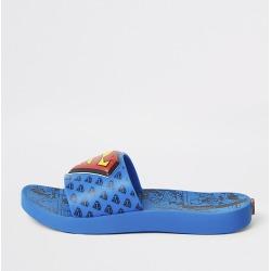River Island Kids Ipanema blue Superman sliders