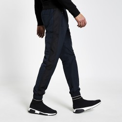 River Island Mens Navy colour block slim fit nylon joggers