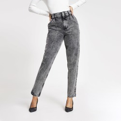 River Island Womens Black acid wash high rise tapered jeans found on MODAPINS from River Island - UK for USD $31.14
