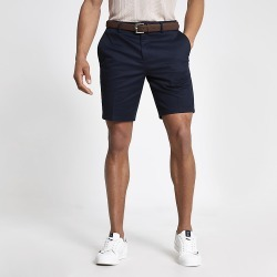 River Island Mens Navy Dylan slim fit belted shorts