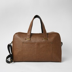 River Island Mens Brown textured pocket front weekend holdall