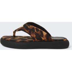 River Island Womens Brown RI leopard print chunky sandals found on Bargain Bro UK from River Island - UK