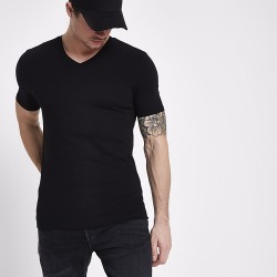 River Island Mens Black muscle fit V neck T-shirt found on MODAPINS from RIver Island US for USD $16.00