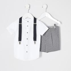 River Island Mini boys black check grandad shirt suit set