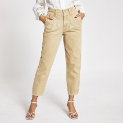 River Island Womens Beige high rise tapered jeans found on MODAPINS from River Island - UK for USD $52.94