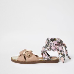 River Island Womens Pink wide fit ankle tie sandals found on Bargain Bro UK from River Island - UK