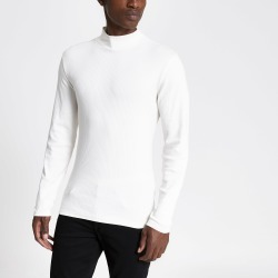 Mens River Island Beige turtle neck long sleeve T-shirt