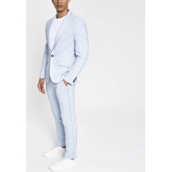 Mens River Island Light Blue skinny stretch suit trousers