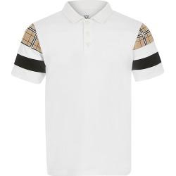 River Island Boys white blocked polo shirt