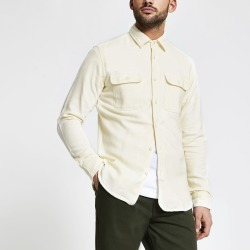 Mens River Island Selected Homme Cream pocket front shirt