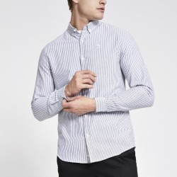 Mens River Island Maison Riviera Grey stripe slim fit shirt