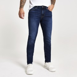 Mens River Island Dark Blue slim fit Dylan jeans