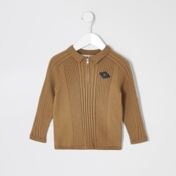 River Island Mini boys Beige zip rib knitted polo shirt found on Bargain Bro UK from River Island - UK