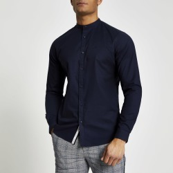 Mens River Island Navy grandad collar muscle fit Oxford shirt