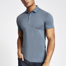 River Island Mens Blue muscle fit polo shirt