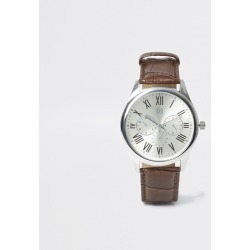 Mens River Island Brown strap silver tone smart watch found on Bargain Bro UK from River Island - UK