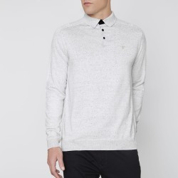 Mens River Island Light Grey long sleeve knitted polo shirt