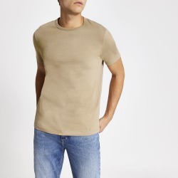 Mens River Island Beige slim fit crew neck T-shirt