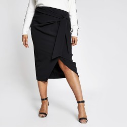 River Island Womens Plus Black wrap front midi skirt found on Bargain Bro UK from River Island - UK