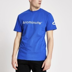 Mens River Island Arcminute Blue logo T-shirt