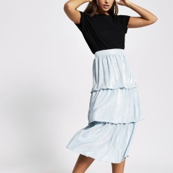 River Island Womens Green pleated jersey frill midi skirt found on Bargain Bro UK from River Island - UK