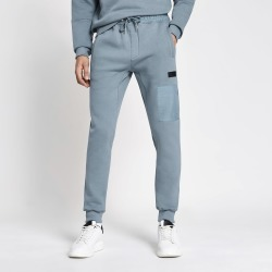 Mens River Island Pastel Tech Blue nylon blocked joggers