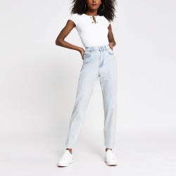 River Island Womens Light Blue high rise tapered jeans found on MODAPINS from River Island - UK for USD $51.90