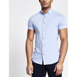 River Island Mens Blue short sleeve muscle fit shirt