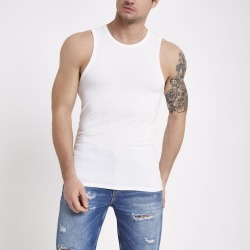 Mens River Island White muscle fit vest found on MODAPINS from River Island - UK for USD $11.31