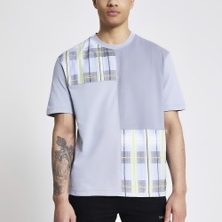 River Island Mens Prolific grey check colour blocked T-shirt