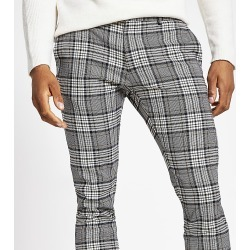 River Island Mens Grey tartan check super skinny smart trousers