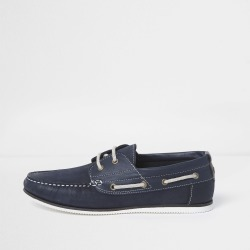 Mens River Island Navy leather boat shoes