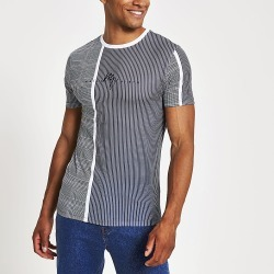 River Island Mens Maison Riviera blue muscle fit check T-shirt