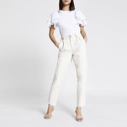 River Island Womens Ecru high rise tapered jeans found on MODAPINS from RIver Island US for USD $84.00