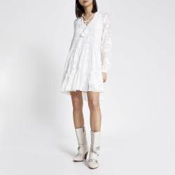 River Island Womens White floral jacquard mini smock dress