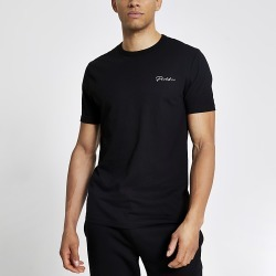 River Island Mens Prolific black slim fit short sleeve T-shirt