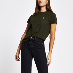 River Island Womens Khaki RI diamante button pocket T-shirt found on MODAPINS from River Island - UK for USD $12.52