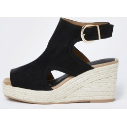 River Island Womens Black wide fit square toe wedge shoe boots found on MODAPINS from River Island - UK for USD $48.63