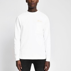 Mens River Island Prolific White long sleeve skater T-shirt