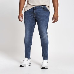 River Island Mens Big and Tall mid blue Ollie spray on jeans