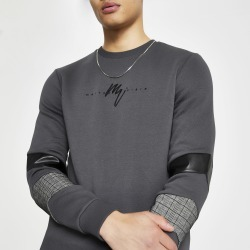Mens River Island Maison Riviera Grey blocked sweatshirt