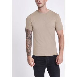 Mens River Island Brown marl muscle fit crew neck T-shirt