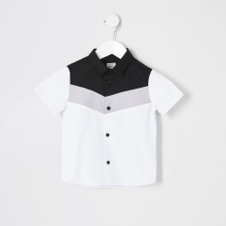 River Island Mini boys White chevron colour block shirt found on Bargain Bro UK from River Island - UK